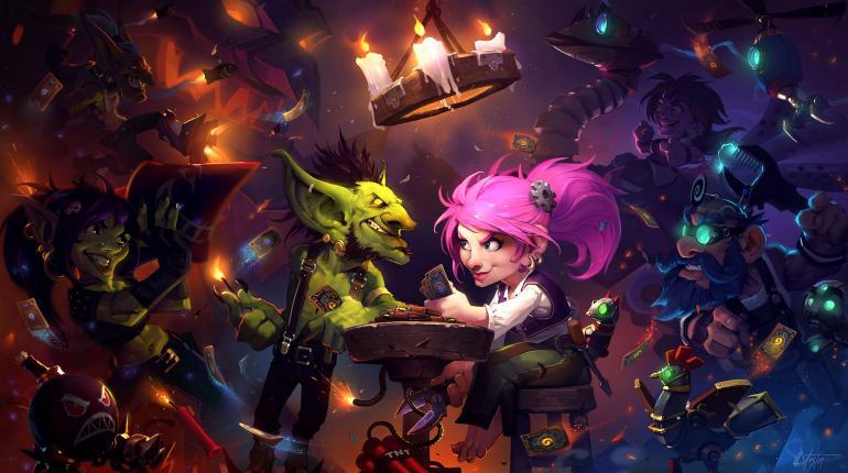 Арт-изображение игры HearthStone с сушествами за столом