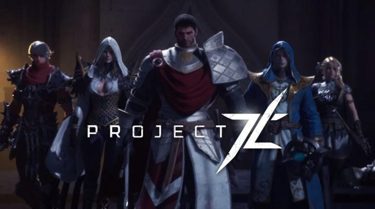 Логотип из игры Project TL со всеми классами на заднем фоне