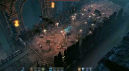 Подземелье в Project TL с факелами и рыцарем